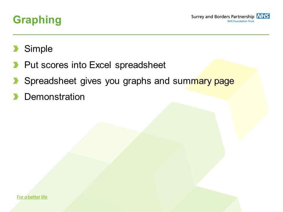 Graphing Simple Put scores into Excel spreadsheet Spreadsheet gives you graphs and summary page Demonstration