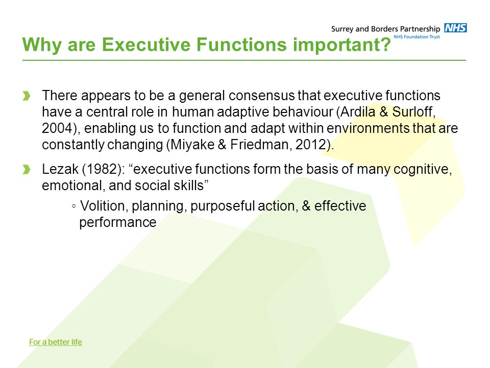 Why are Executive Functions important? There appears to be a general consensus that executive functions have a central role in human adaptive behaviou