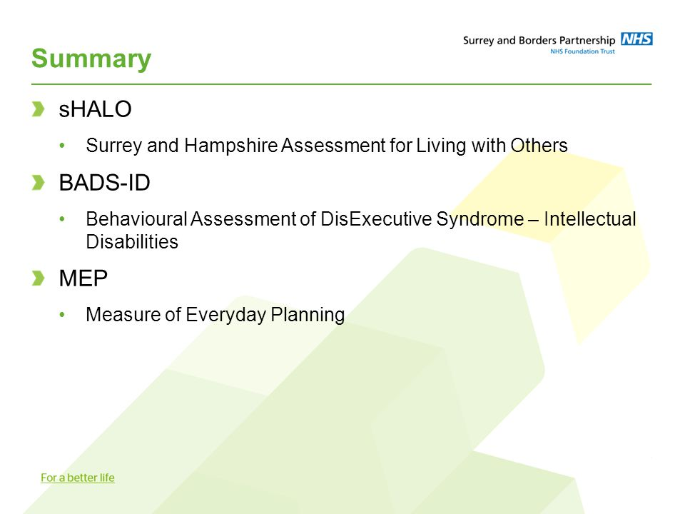 Summary sHALO Surrey and Hampshire Assessment for Living with Others BADS-ID Behavioural Assessment of DisExecutive Syndrome – Intellectual Disabiliti