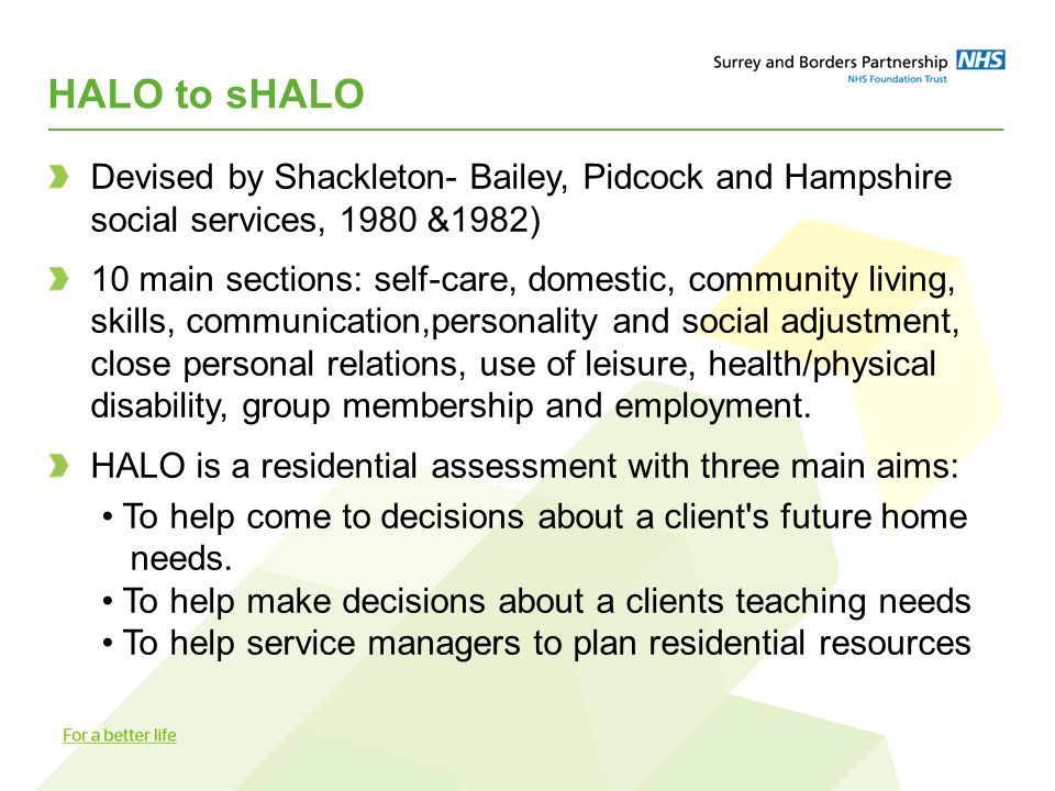 HALO to sHALO Devised by Shackleton- Bailey, Pidcock and Hampshire social services, 1980 &1982) 10 main sections: self-care, domestic, community living, skills, communication,personality and social adjustment, close personal relations, use of leisure, health/physical disability, group membership and employment.