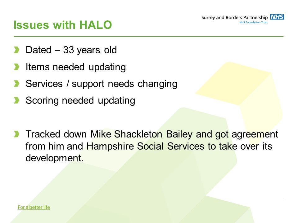 Issues with HALO Dated – 33 years old Items needed updating Services / support needs changing Scoring needed updating Tracked down Mike Shackleton Bailey and got agreement from him and Hampshire Social Services to take over its development.