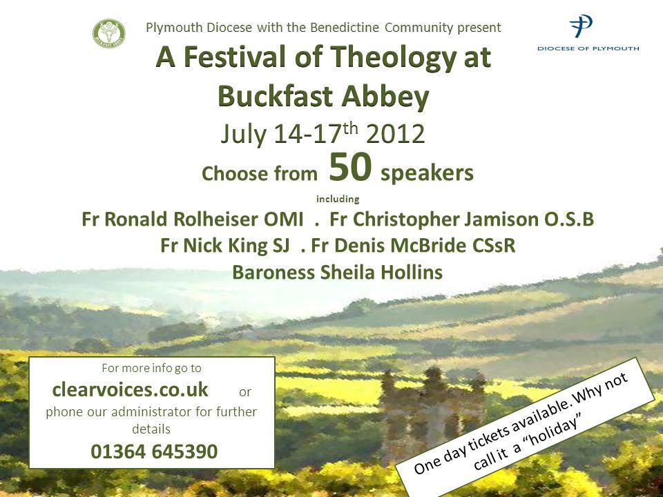 Choose from 50 speakers including Fr Ronald Rolheiser OMI.