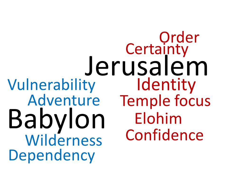 Jerusalem Babylon Certainty Identity Order Temple focus Confidence Elohim Adventure Wilderness Dependency Vulnerability