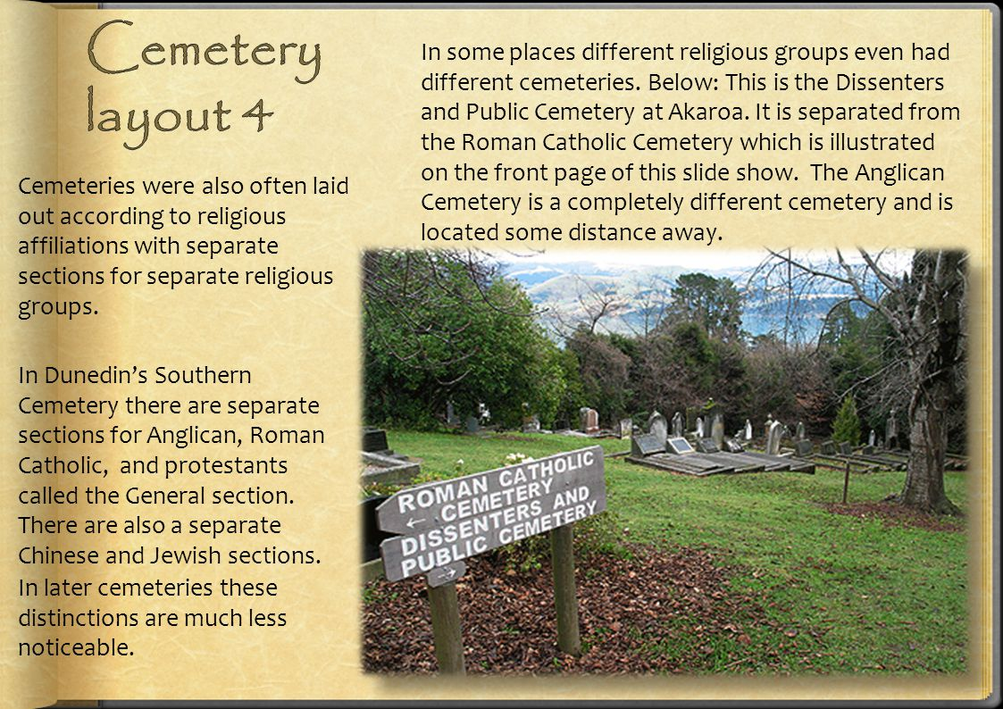 Cemeteries were also often laid out according to religious affiliations with separate sections for separate religious groups. In some places different