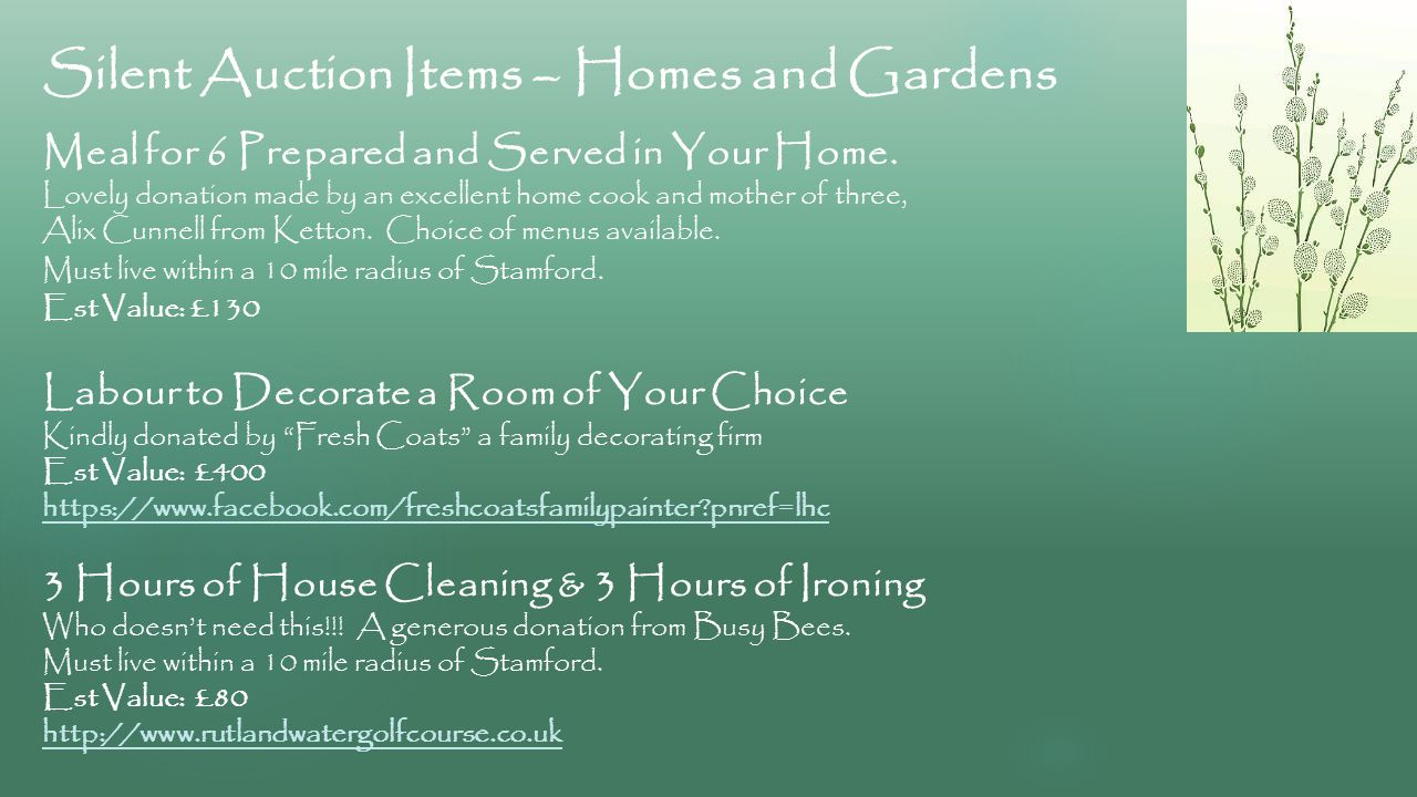 Silent Auction Items – Homes and Gardens Meal for 6 Prepared and Served in Your Home.