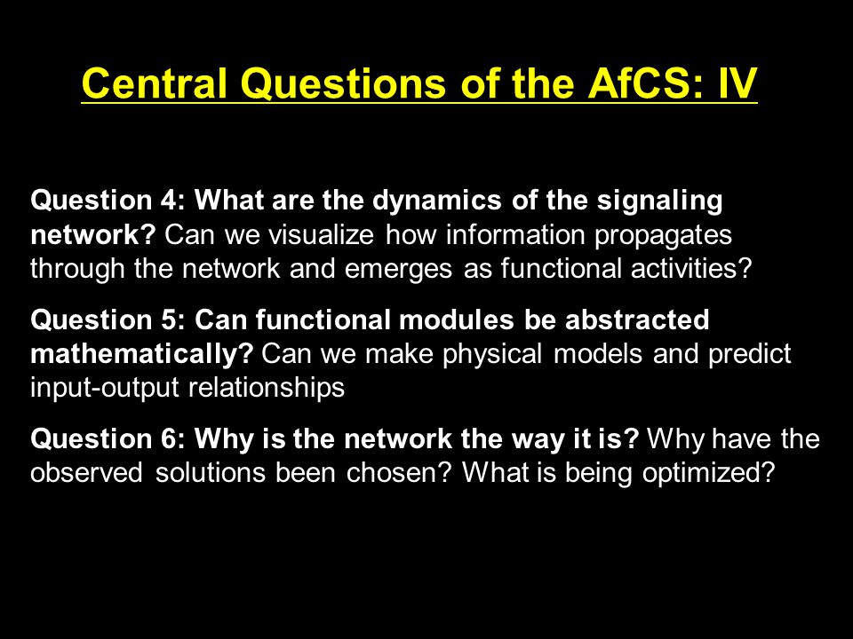 Central Questions of the AfCS: IV Question 4: What are the dynamics of the signaling network.
