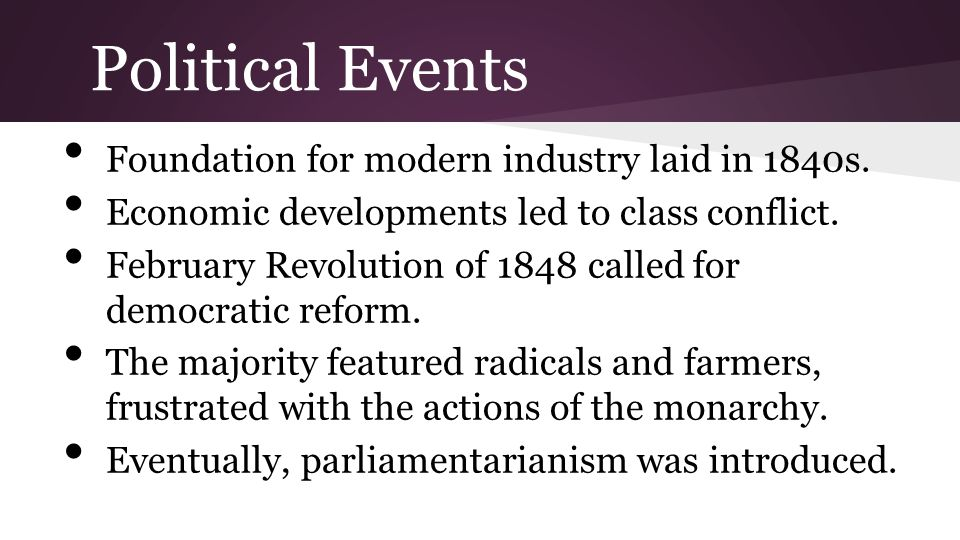 Political Events Foundation for modern industry laid in 1840s. Economic developments led to class conflict. February Revolution of 1848 called for dem