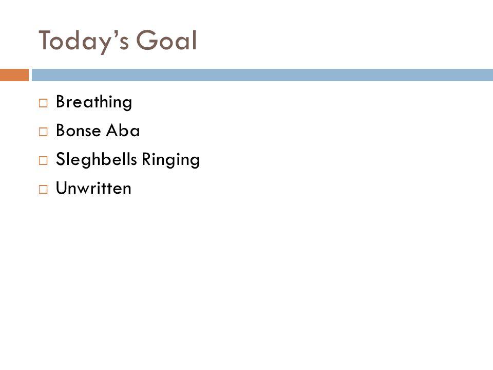 Today's Goal  Breathing  Bonse Aba  Sleghbells Ringing  Unwritten