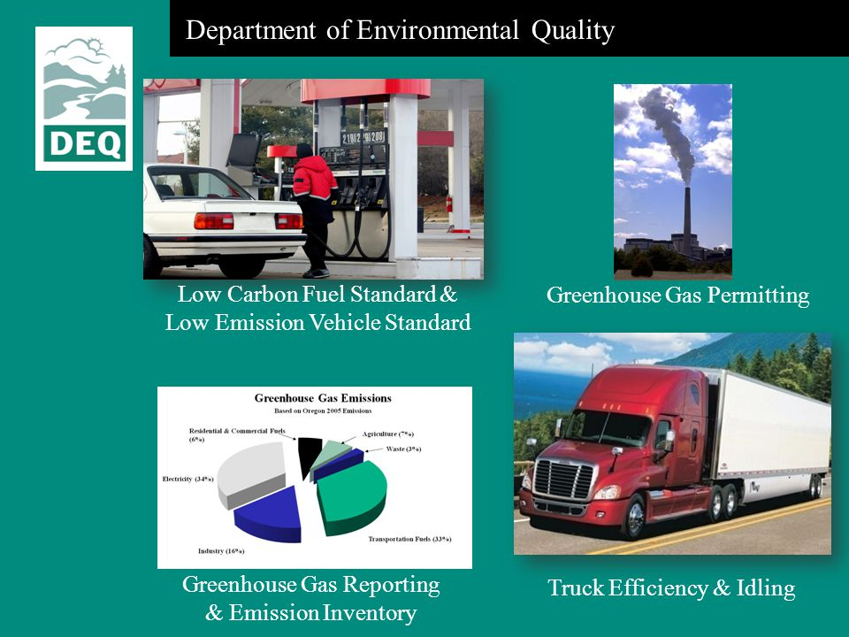 Department of Environmental Quality Greenhouse Gas Permitting Low Carbon Fuel Standard & Low Emission Vehicle Standard Truck Efficiency & Idling Green
