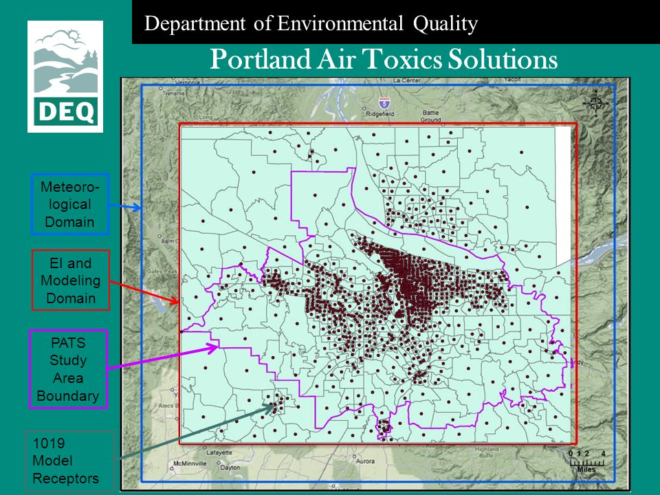 Department of Environmental Quality Portland Air Toxics Solutions Meteoro- logical Domain EI and Modeling Domain PATS Study Area Boundary 1019 Model R