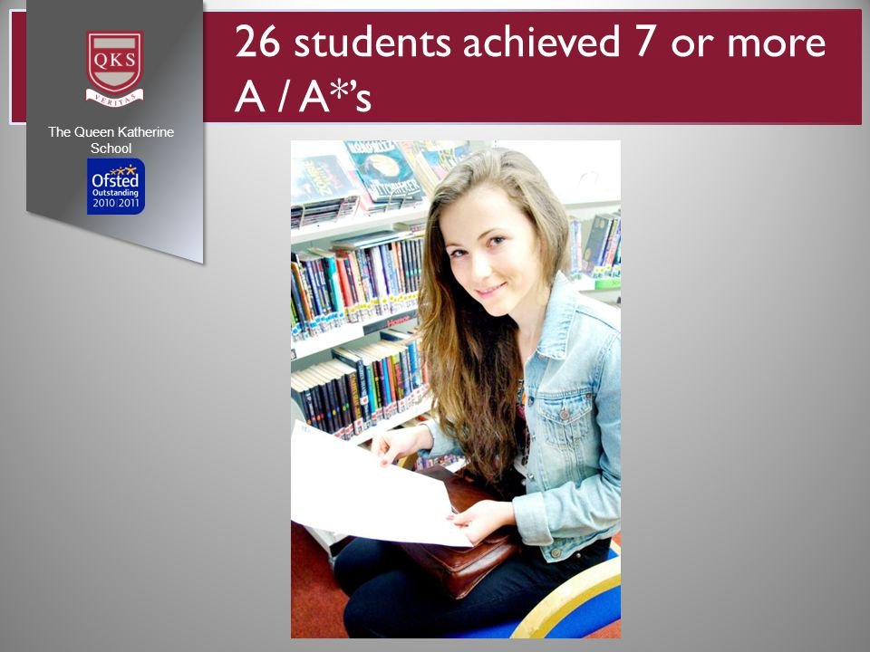 26 students achieved 7 or more A / A*'s The Queen Katherine School
