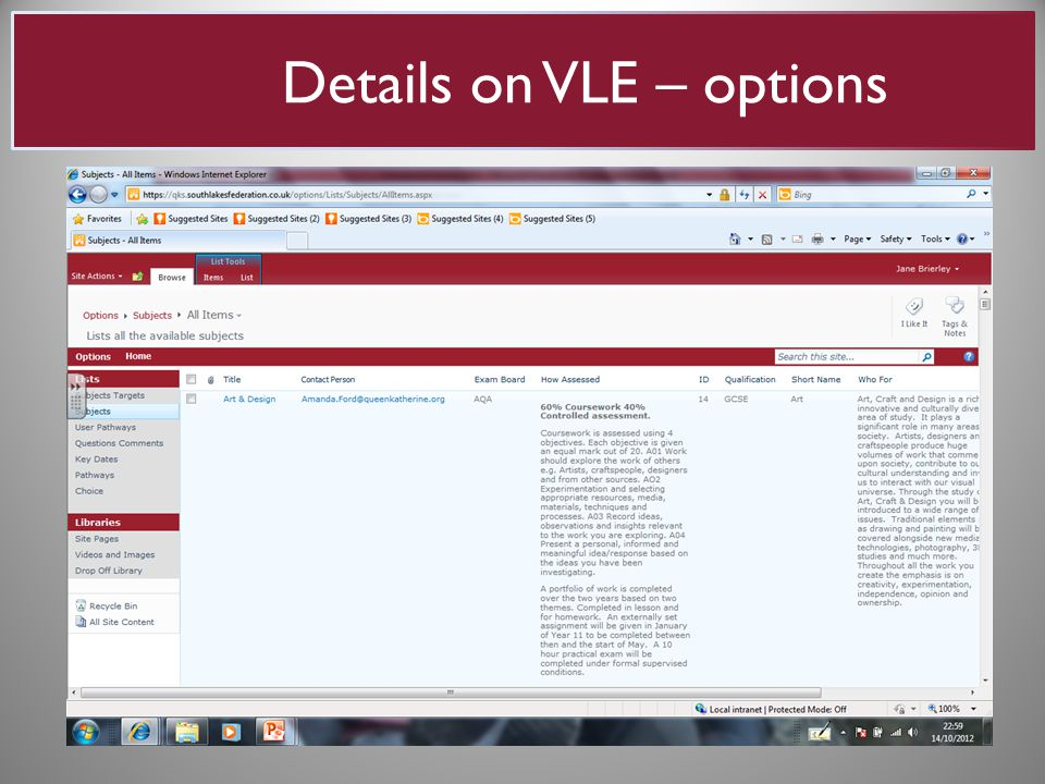 Details on VLE – options