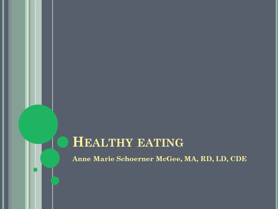 H EALTHY EATING Anne Marie Schoerner McGee, MA, RD, LD, CDE