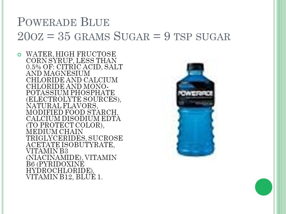 P OWERADE B LUE 20 OZ = 35 GRAMS S UGAR = 9 TSP SUGAR WATER, HIGH FRUCTOSE CORN SYRUP, LESS THAN 0.5% OF: CITRIC ACID, SALT AND MAGNESIUM CHLORIDE AND