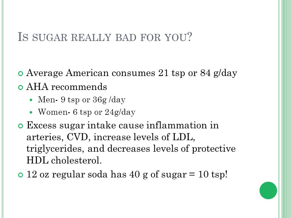 I S SUGAR REALLY BAD FOR YOU ? Average American consumes 21 tsp or 84 g/day AHA recommends Men- 9 tsp or 36g /day Women- 6 tsp or 24g/day Excess sugar