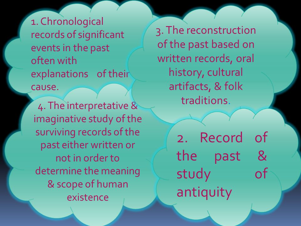 1.Chronological records of significant events in the past often with explanations of their cause.