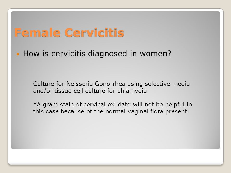 Female Cervicitis How is cervicitis diagnosed in women.