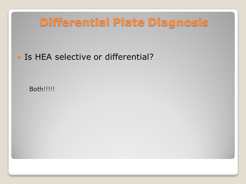 Differential Plate Diagnosis Is HEA selective or differential Both!!!!!