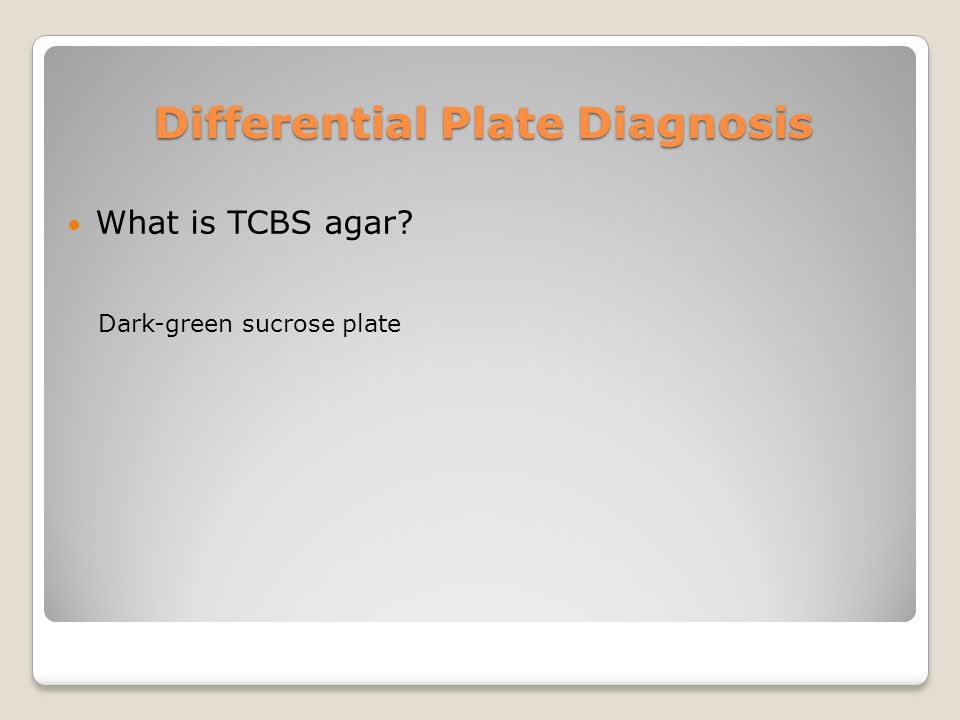 Differential Plate Diagnosis What is TCBS agar? Dark-green sucrose plate