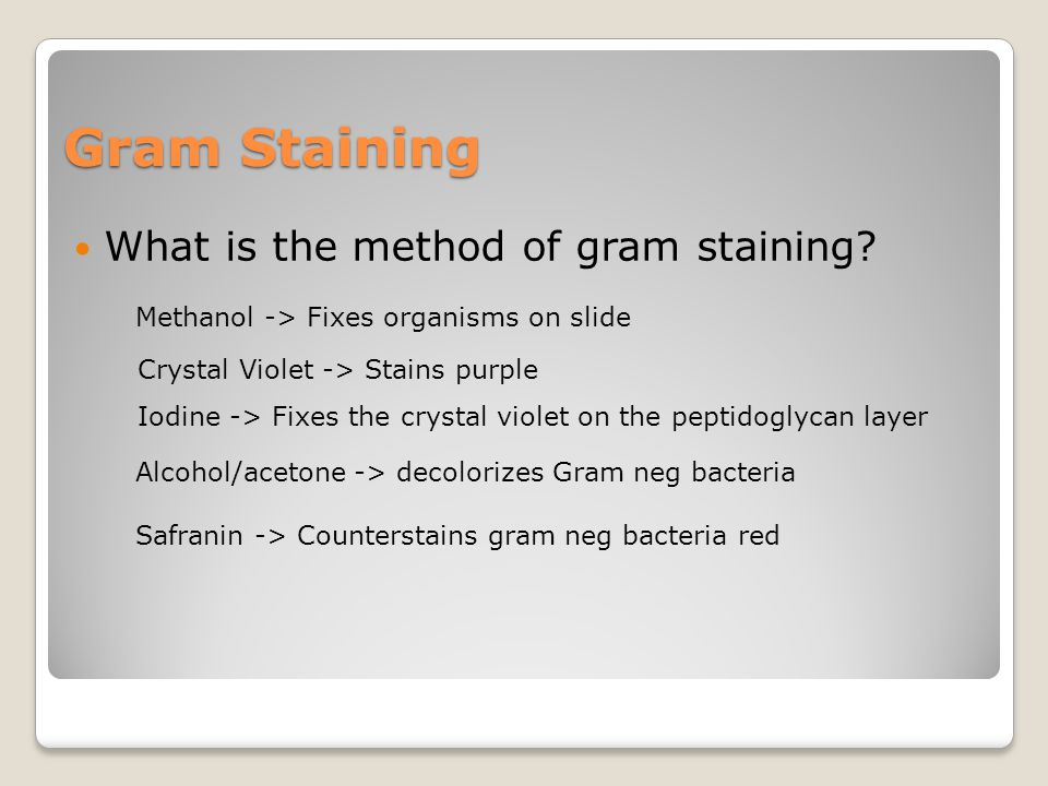 Gram Staining What is the method of gram staining? Methanol -> Fixes organisms on slide Crystal Violet -> Stains purple Iodine -> Fixes the crystal vi