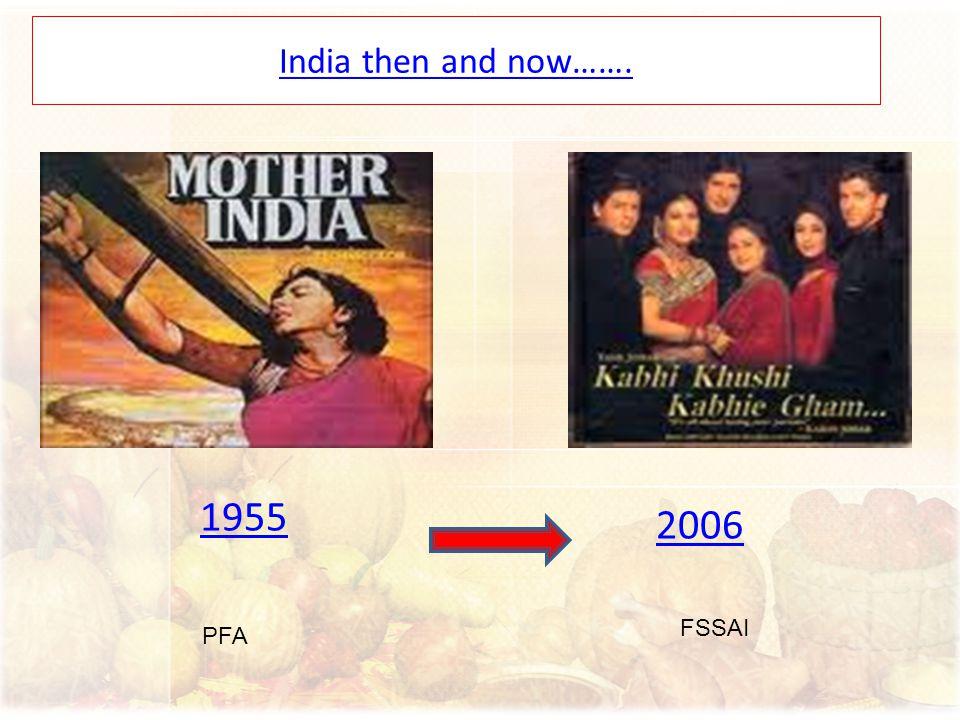 1955 2006 India then and now……. PFA FSSAI