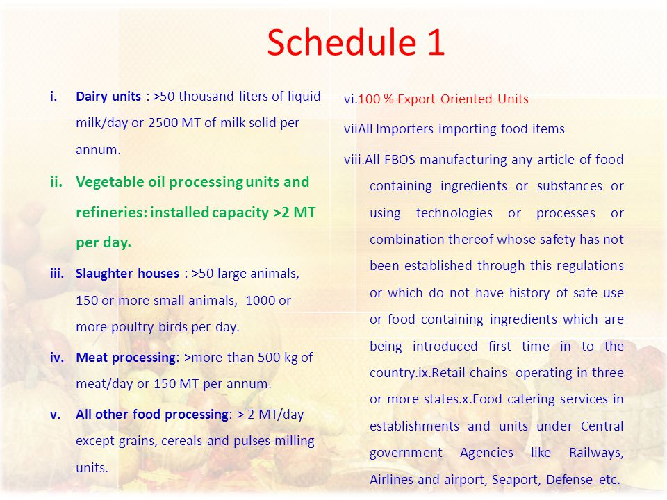 Schedule 1 i.Dairy units : >50 thousand liters of liquid milk/day or 2500 MT of milk solid per annum. ii.Vegetable oil processing units and refineries