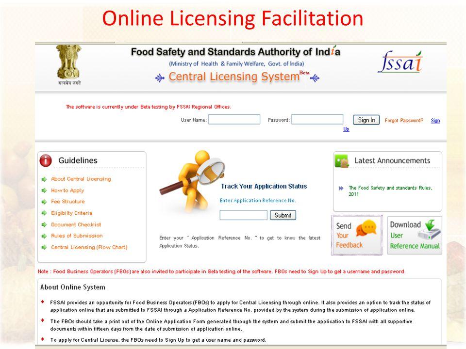 Online Licensing Facilitation