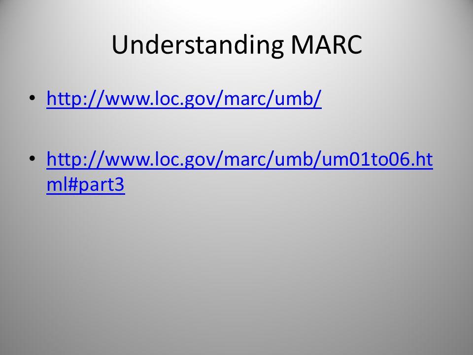 Understanding MARC http://www.loc.gov/marc/umb/ http://www.loc.gov/marc/umb/um01to06.ht ml#part3 http://www.loc.gov/marc/umb/um01to06.ht ml#part3