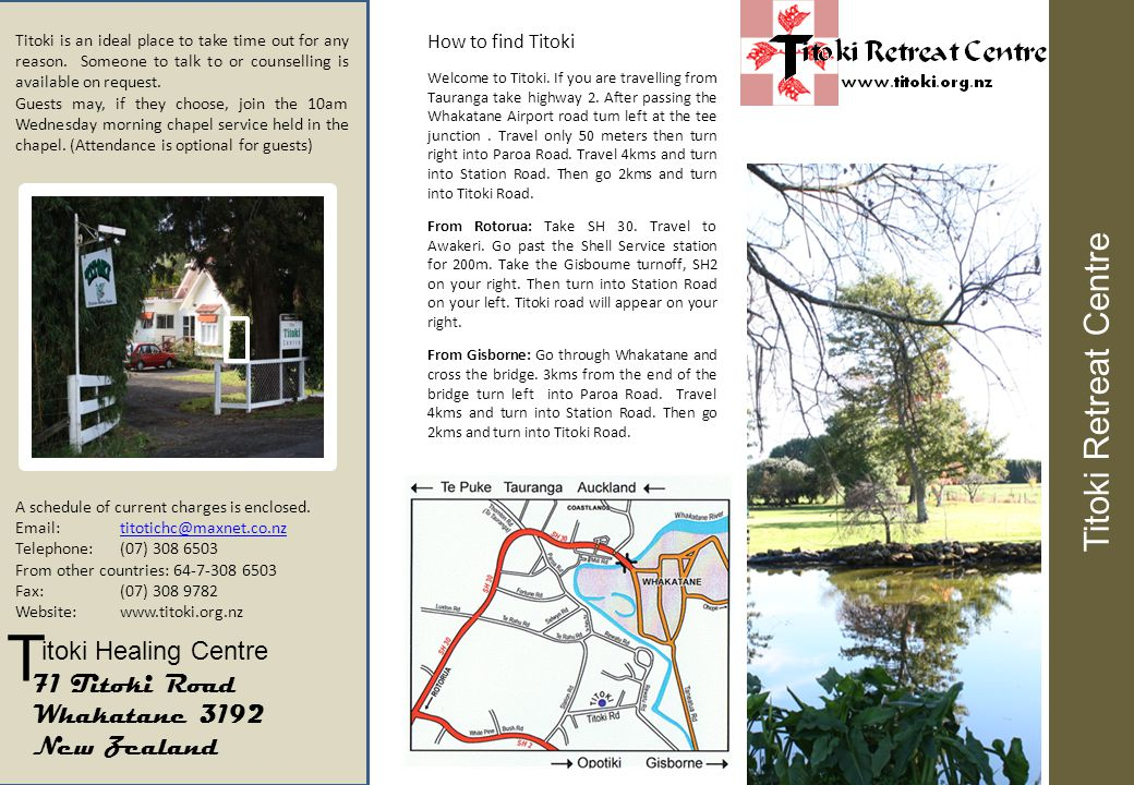 Titoki Retreat Centre is a well equipped and spacious offering time-out, and seminar facilities.