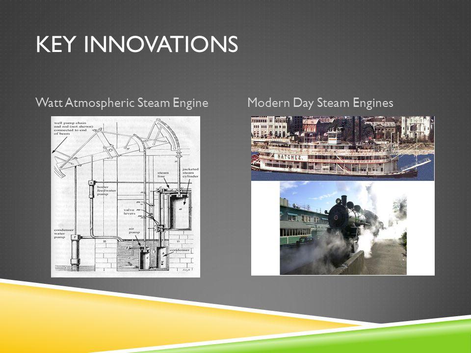 KEY INNOVATIONS Watt Atmospheric Steam EngineModern Day Steam Engines