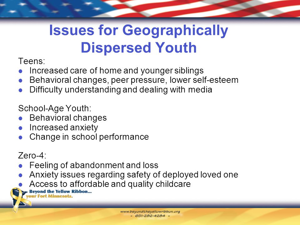 Issues for Geographically Dispersed Youth Teens: Increased care of home and younger siblings Behavioral changes, peer pressure, lower self-esteem Difficulty understanding and dealing with media School-Age Youth: Behavioral changes Increased anxiety Change in school performance Zero-4: Feeling of abandonment and loss Anxiety issues regarding safety of deployed loved one Access to affordable and quality childcare