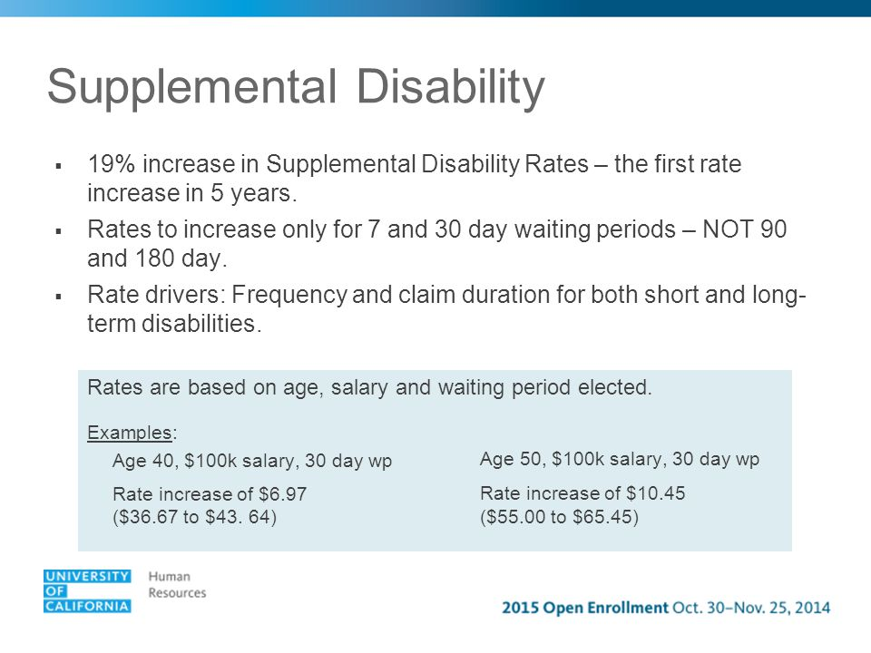 Supplemental Disability 13  19% increase in Supplemental Disability Rates – the first rate increase in 5 years.
