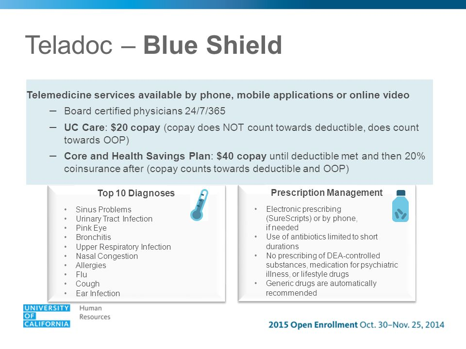 Teladoc – Blue Shield Telemedicine services available by phone, mobile applications or online video – Board certified physicians 24/7/365 – UC Care: $20 copay (copay does NOT count towards deductible, does count towards OOP) – Core and Health Savings Plan: $40 copay until deductible met and then 20% coinsurance after (copay counts towards deductible and OOP) Top 10 Diagnoses Sinus Problems Urinary Tract Infection Pink Eye Bronchitis Upper Respiratory Infection Nasal Congestion Allergies Flu Cough Ear Infection Top 10 Diagnoses Sinus Problems Urinary Tract Infection Pink Eye Bronchitis Upper Respiratory Infection Nasal Congestion Allergies Flu Cough Ear Infection Prescription Management Electronic prescribing (SureScripts) or by phone, if needed Use of antibiotics limited to short durations No prescribing of DEA-controlled substances, medication for psychiatric illness, or lifestyle drugs Generic drugs are automatically recommended Prescription Management Electronic prescribing (SureScripts) or by phone, if needed Use of antibiotics limited to short durations No prescribing of DEA-controlled substances, medication for psychiatric illness, or lifestyle drugs Generic drugs are automatically recommended
