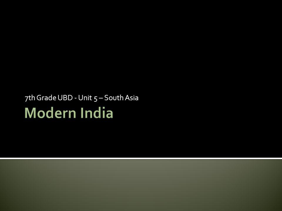 7th Grade UBD - Unit 5 – South Asia