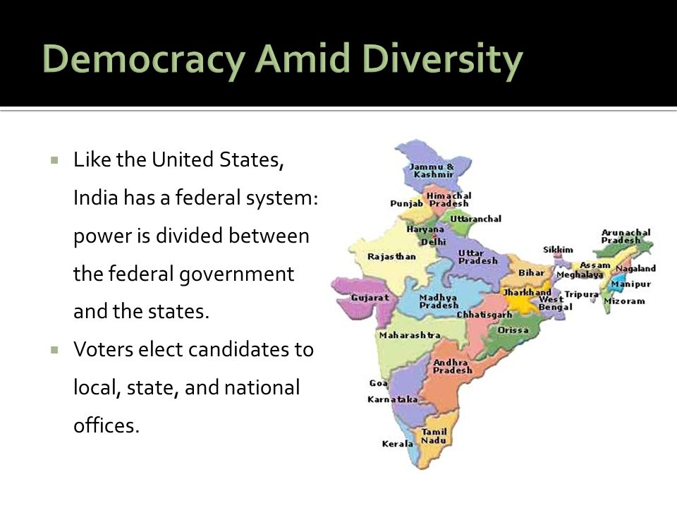  Like the United States, India has a federal system: power is divided between the federal government and the states.  Voters elect candidates to loc