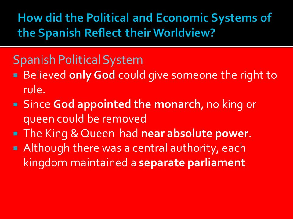 Spanish Political System only God  Believed only God could give someone the right to rule.