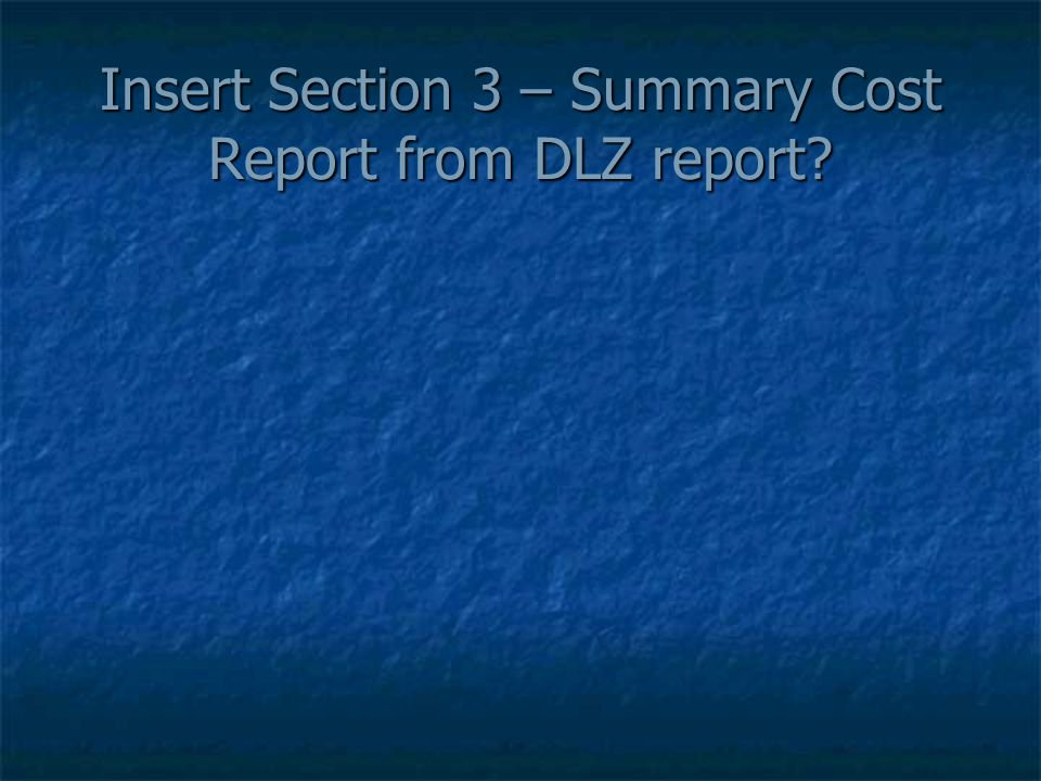Insert Section 3 – Summary Cost Report from DLZ report