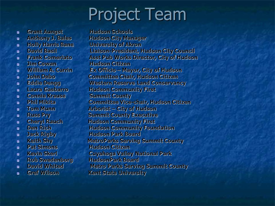 Project Team Grant Aungst Hudson Schools Grant Aungst Hudson Schools Anthony J. Bales Hudson City Manager Anthony J. Bales Hudson City Manager Holly H