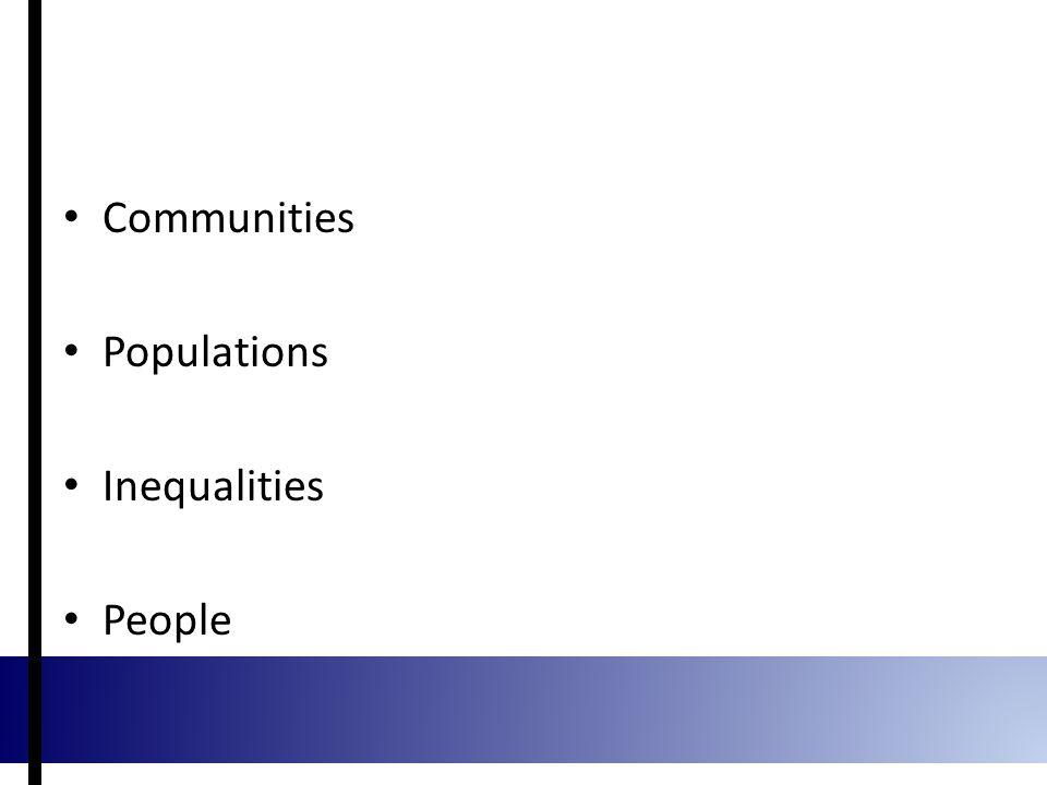 Communities Populations Inequalities People