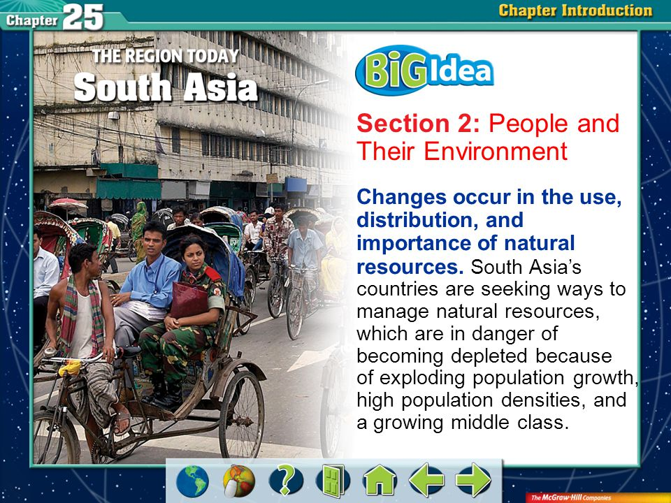 Chapter Intro 3 Section 2: People and Their Environment Changes occur in the use, distribution, and importance of natural resources.