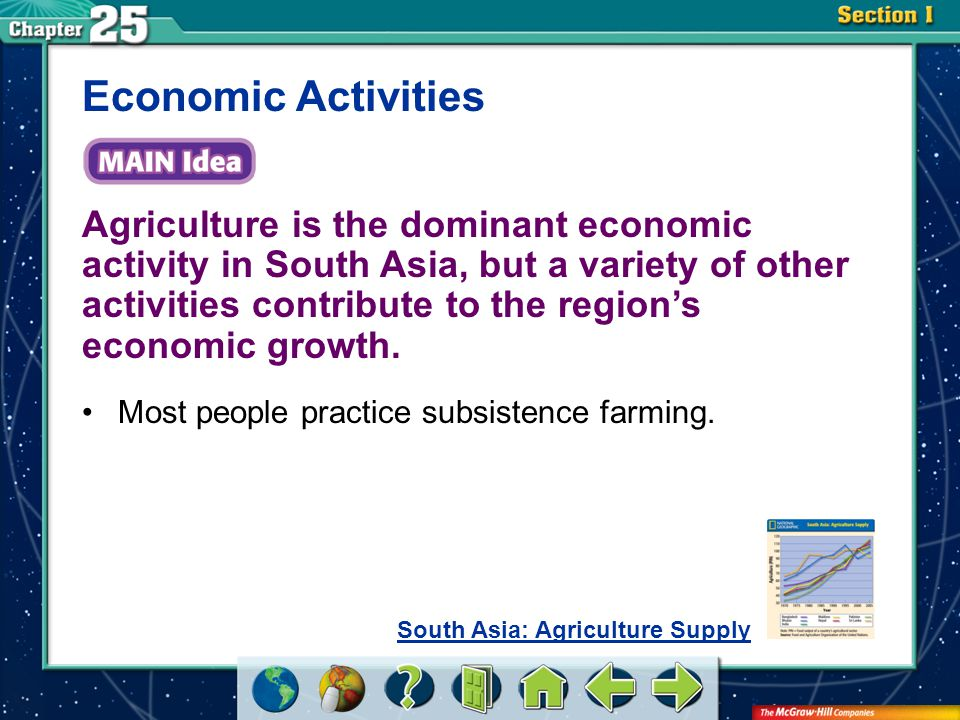 Section 1 Agricultural conditions: –Terracing –Fruit orchards –Rice paddies –Small farms versus plantations Economic Activities (cont.) South Asian crops: –Sri Lanka—tea, rubber, coconuts –India—tobacco, bananas, coffee, tea, cotton
