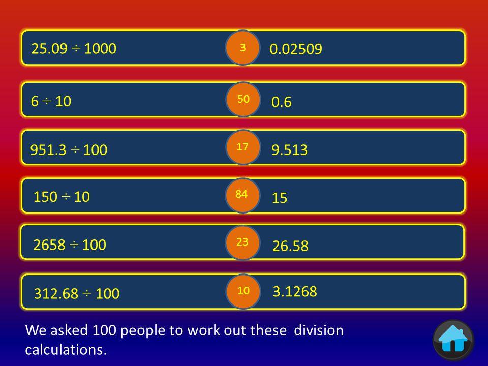 i 62 x 10 620 21605.4 25.6 x 10 256 37 280.3 235.6.037 x 1000 28.03 x 10 2.356 x 100 83 2 49 09 41 24 We asked 100 people to work out these multiplication calculations.