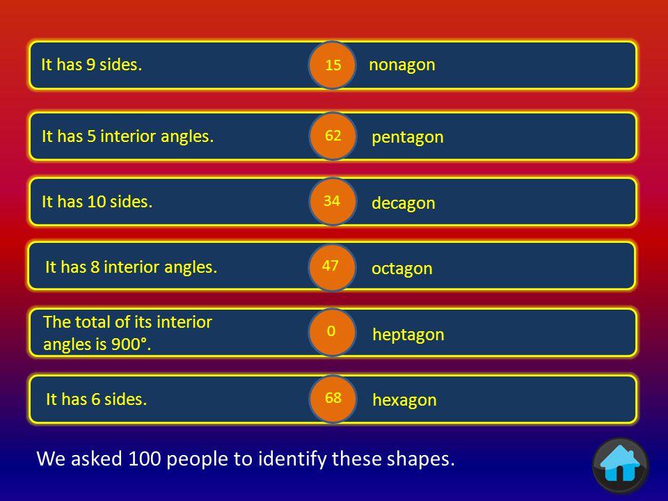 i It has 3 equal sides and 3 equal angles. equilateral triangle isosceles triangle It has 7 sides.