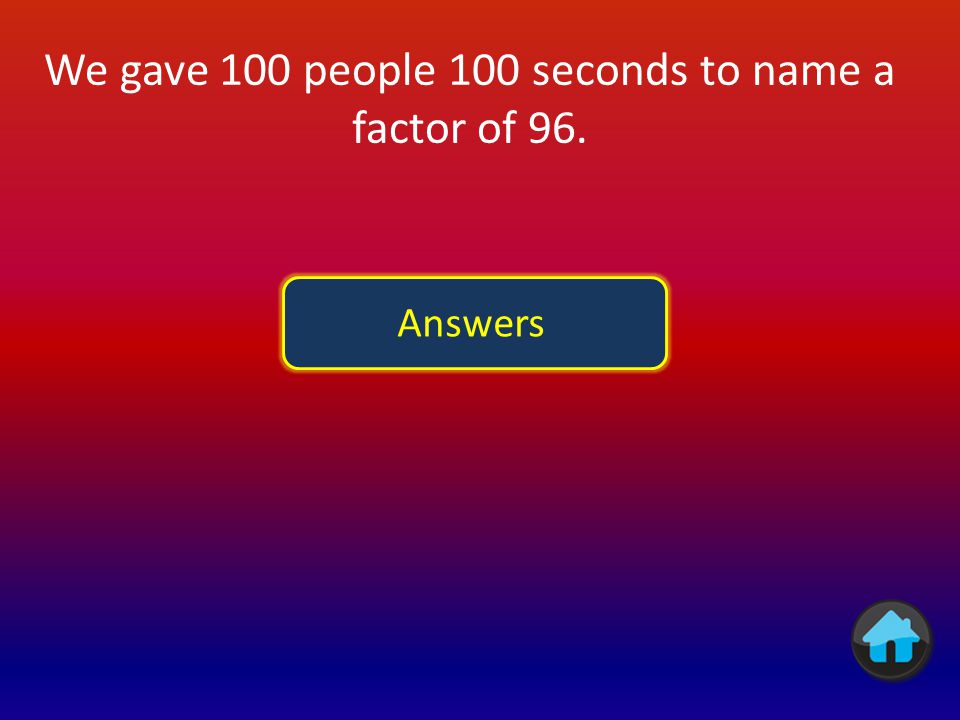We gave 100 people 100 seconds to name a factor of 96. Answers