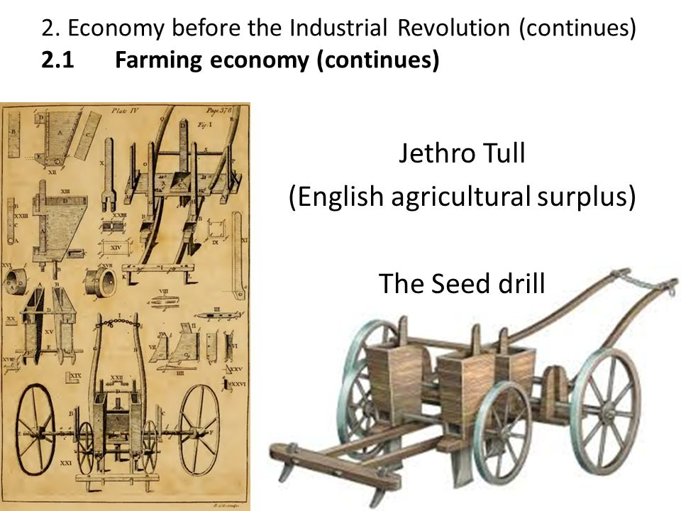 1. Inventions: Jethro Tull (English agricultural surplus) The Seed drill 2. Economy before the Industrial Revolution (continues) 2.1 Farming economy (