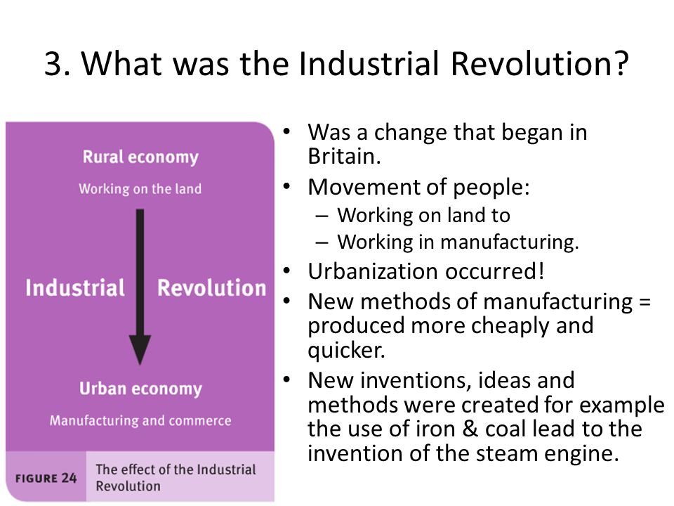 3. What was the Industrial Revolution? Was a change that began in Britain. Movement of people: – Working on land to – Working in manufacturing. Urbani