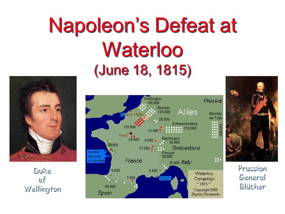 Napoleon's Defeat at Waterloo (June 18, 1815) Duke of Wellington Prussian General Blücher