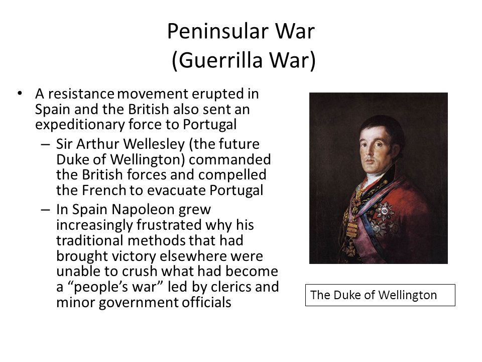Peninsular War (Guerrilla War) A resistance movement erupted in Spain and the British also sent an expeditionary force to Portugal – Sir Arthur Welles