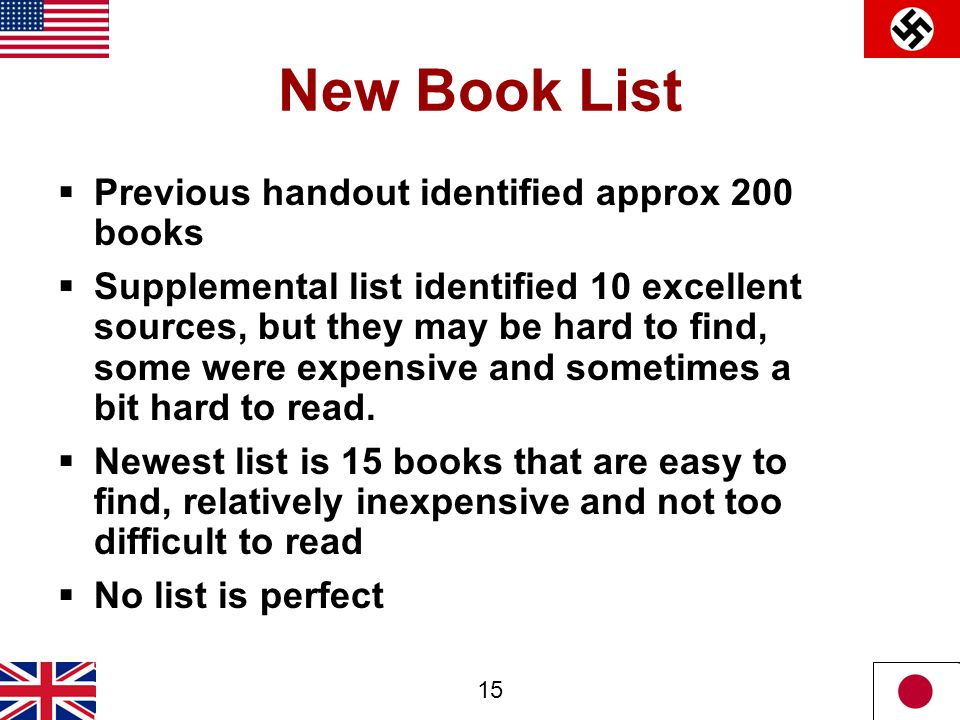 15 New Book List  Previous handout identified approx 200 books  Supplemental list identified 10 excellent sources, but they may be hard to find, som