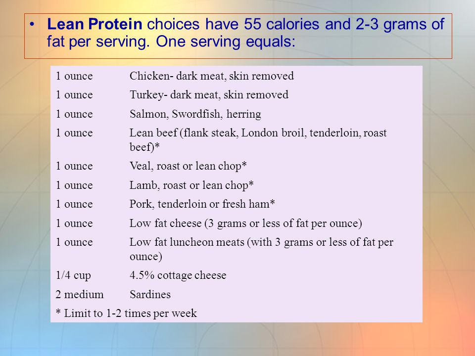 Medium Fat Proteins have 75 calories and 5 grams of fat per serving.